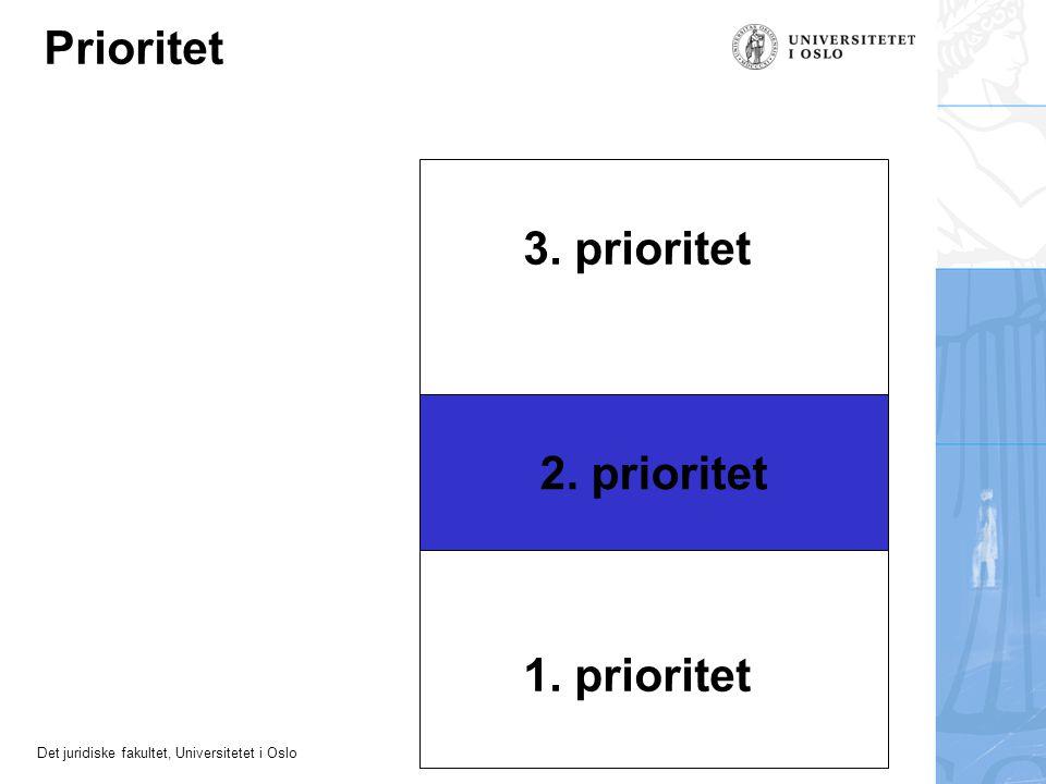 Det juridiske fakultet, Universitetet i Oslo 2. prioritet 1. prioritet 3. prioritet Prioritet
