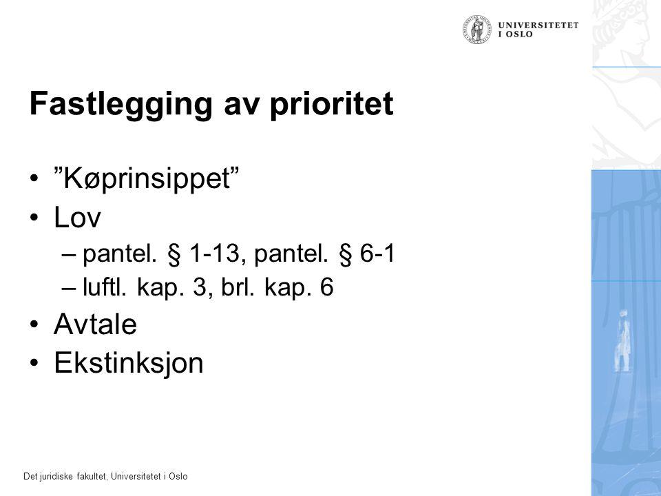 """Det juridiske fakultet, Universitetet i Oslo Fastlegging av prioritet """"Køprinsippet"""" Lov –pantel. § 1-13, pantel. § 6-1 –luftl. kap. 3, brl. kap. 6 Av"""