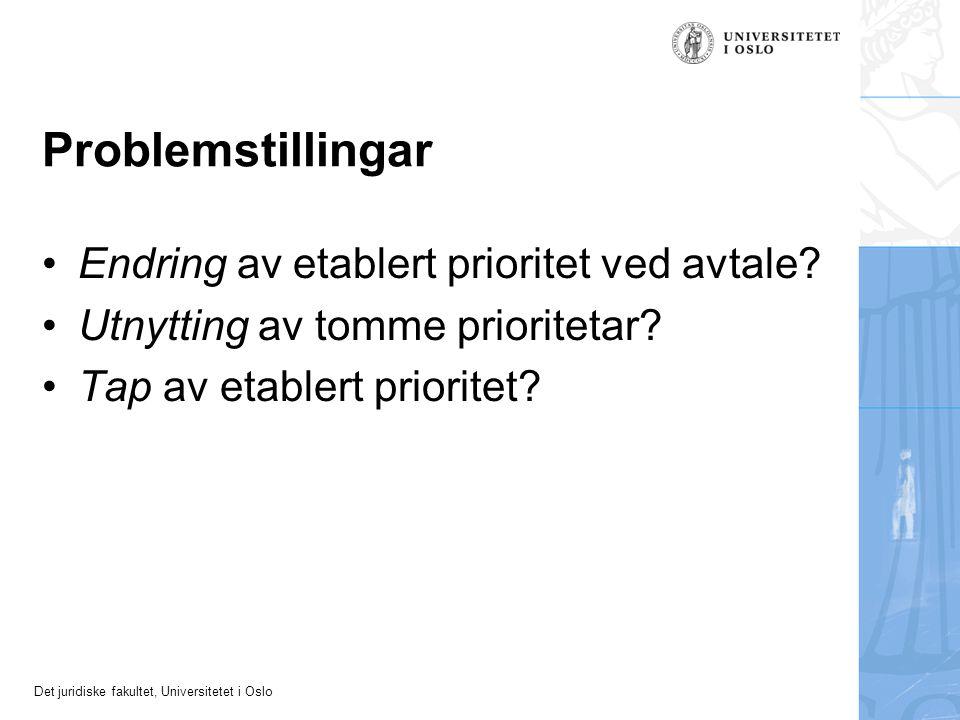 Det juridiske fakultet, Universitetet i Oslo Problemstillingar Endring av etablert prioritet ved avtale? Utnytting av tomme prioritetar? Tap av etable