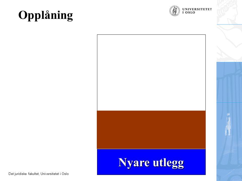 Det juridiske fakultet, Universitetet i Oslo Opplåning Nyare utlegg