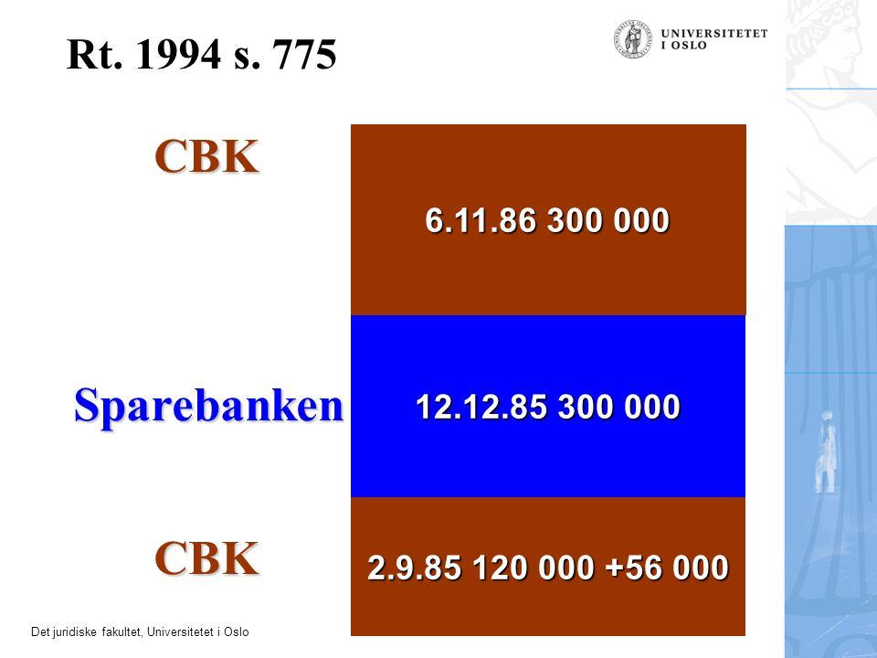 Det juridiske fakultet, Universitetet i Oslo Rt. 1994 s. 775 2.9.85 120 000 +56 000 CBK Sparebanken 12.12.85 300 000 6.11.86 300 000 CBK