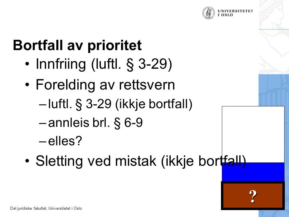 Det juridiske fakultet, Universitetet i Oslo ? Bortfall av prioritet Innfriing (luftl. § 3-29) Forelding av rettsvern –luftl. § 3-29 (ikkje bortfall)