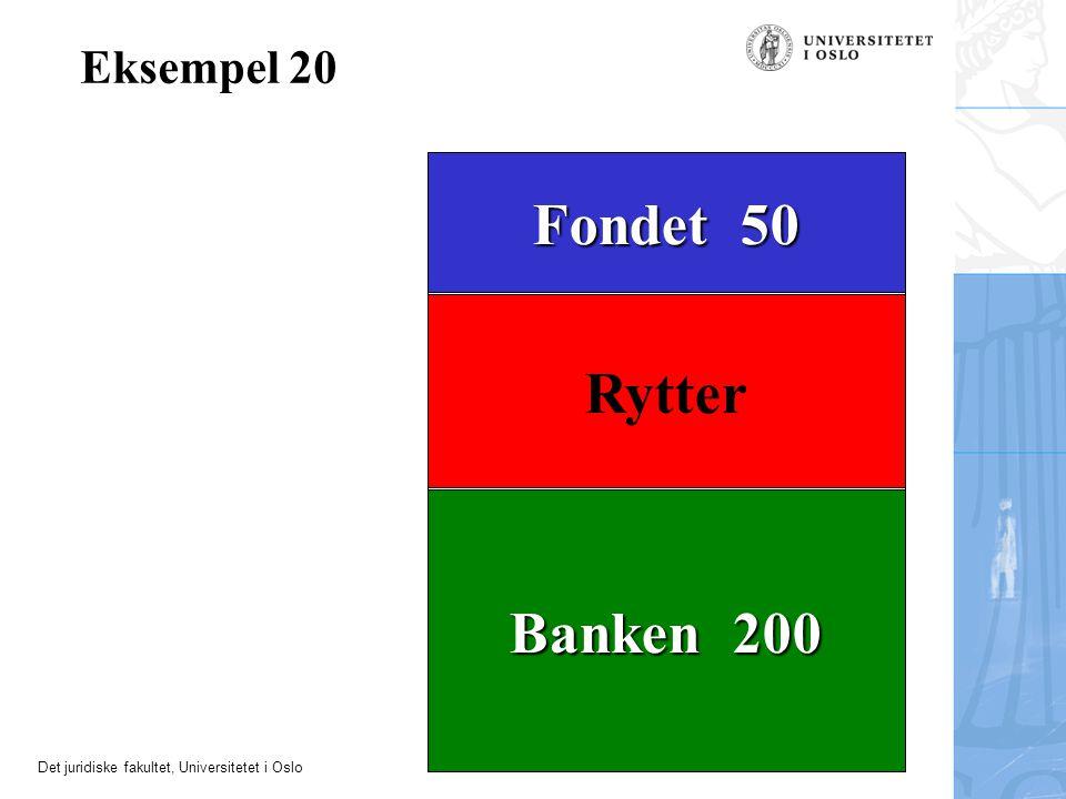 Det juridiske fakultet, Universitetet i Oslo Banken 200 Rytter Fondet 50 Eksempel 20