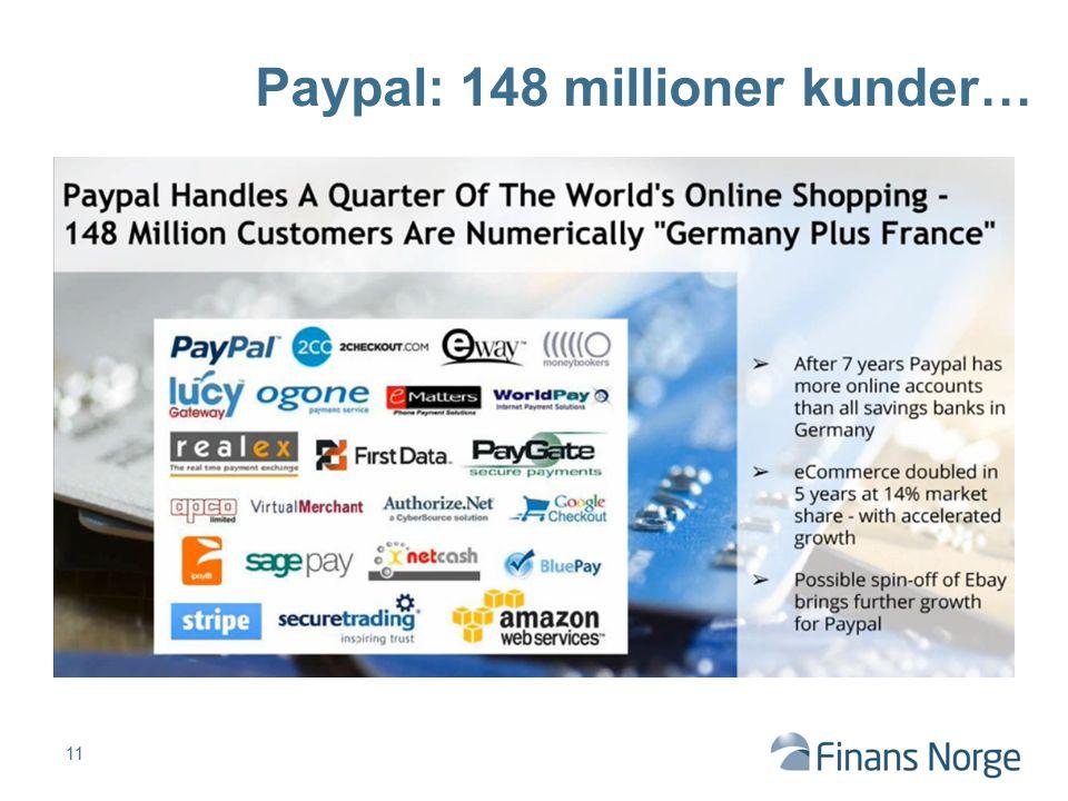11 Paypal: 148 millioner kunder…
