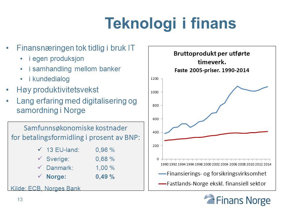 Finansnæringen tok tidlig i bruk IT i egen produksjon i samhandling mellom banker i kundedialog Høy produktivitetsvekst Lang erfaring med digitaliseri