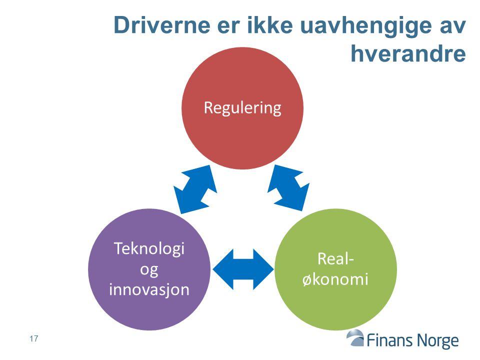 17 Driverne er ikke uavhengige av hverandre Regulering Real- økonomi Teknologi og innovasjon