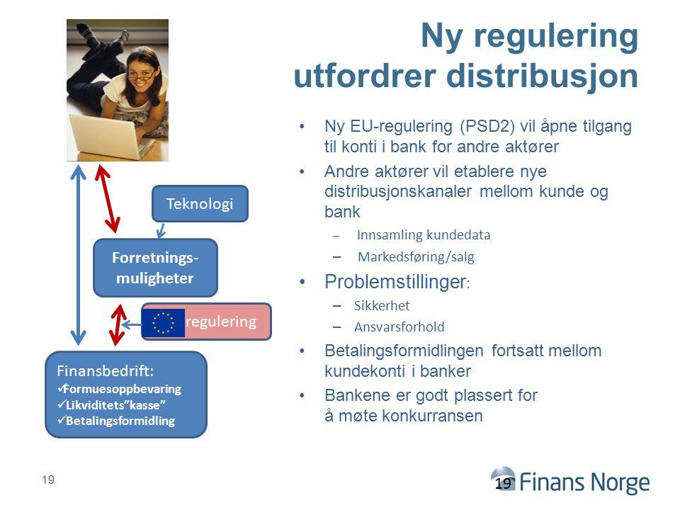 Ny regulering utfordrer distribusjon Ny EU-regulering (PSD2) vil åpne tilgang til konti i bank for andre aktører Andre aktører vil etablere nye distri