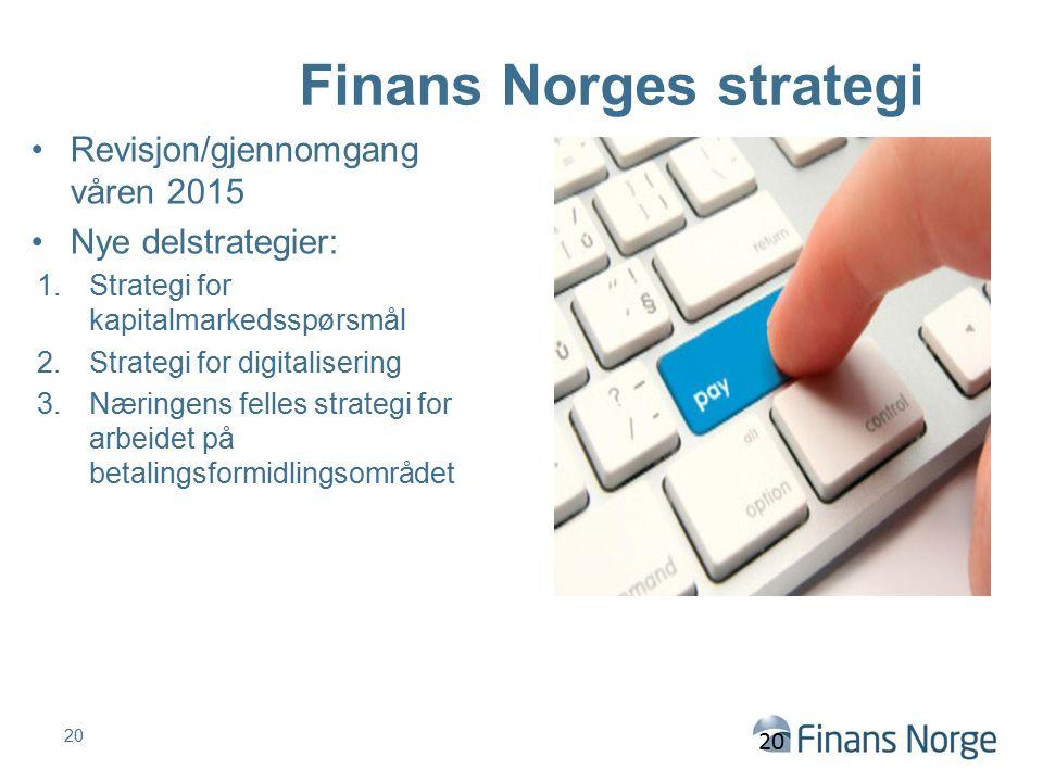 Finans Norges strategi Revisjon/gjennomgang våren 2015 Nye delstrategier: 1.Strategi for kapitalmarkedsspørsmål 2.Strategi for digitalisering 3.Næring