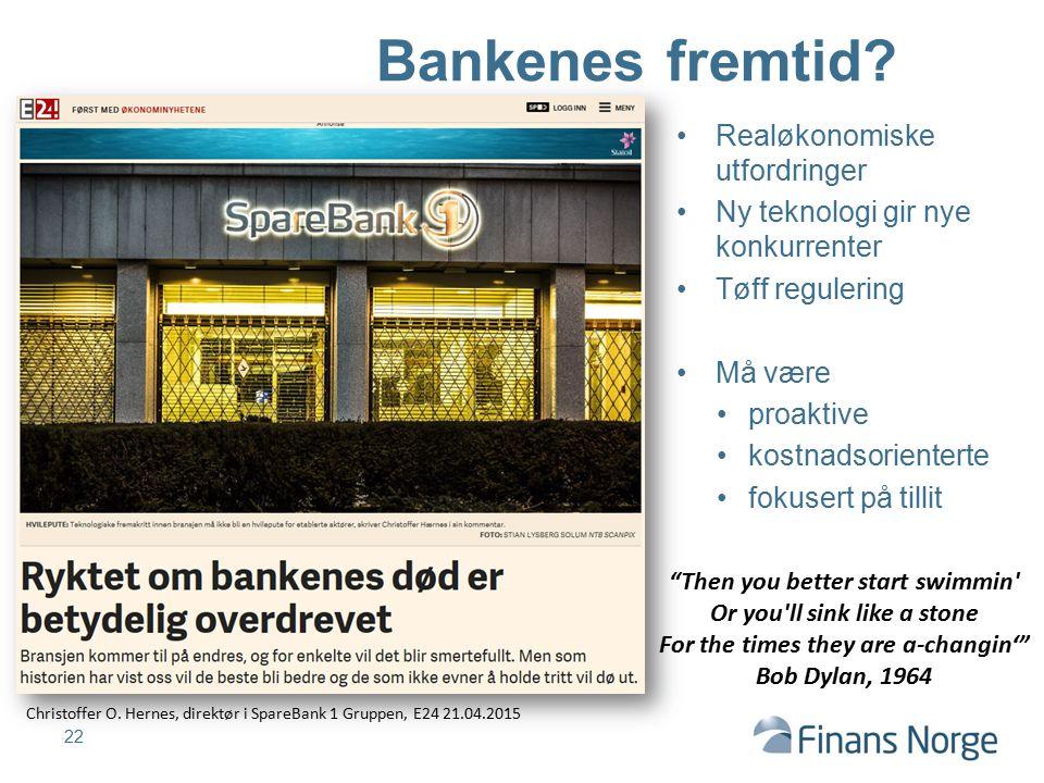 22 Bankenes fremtid? Christoffer O. Hernes, direktør i SpareBank 1 Gruppen, E24 21.04.2015 Realøkonomiske utfordringer Ny teknologi gir nye konkurrent