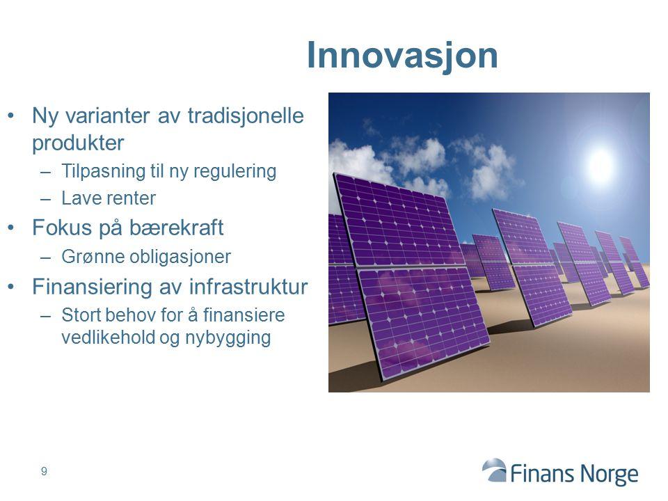 Ny varianter av tradisjonelle produkter –Tilpasning til ny regulering –Lave renter Fokus på bærekraft –Grønne obligasjoner Finansiering av infrastrukt
