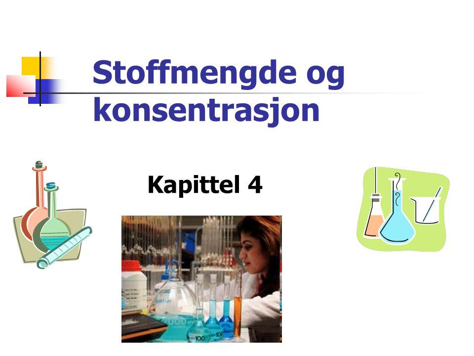 Begrepet mol Stoffer reagerer med hverandre partikkel for partikkel ⇒ vi trenger en enhet i kjemi som forteller oss hvor mange partikler som deltar i reaksjoner + =