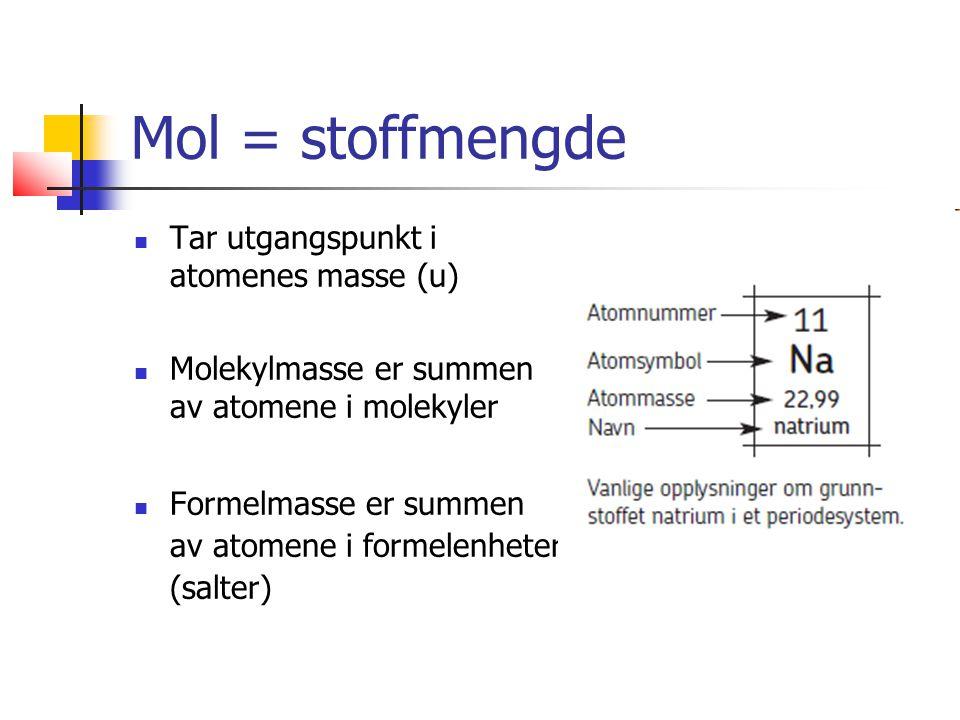 Tar utgangspunkt i atomenes masse (u) Molekylmasse er summen av atomene i molekyler Formelmasse er summen av atomene i formelenheter (salter)