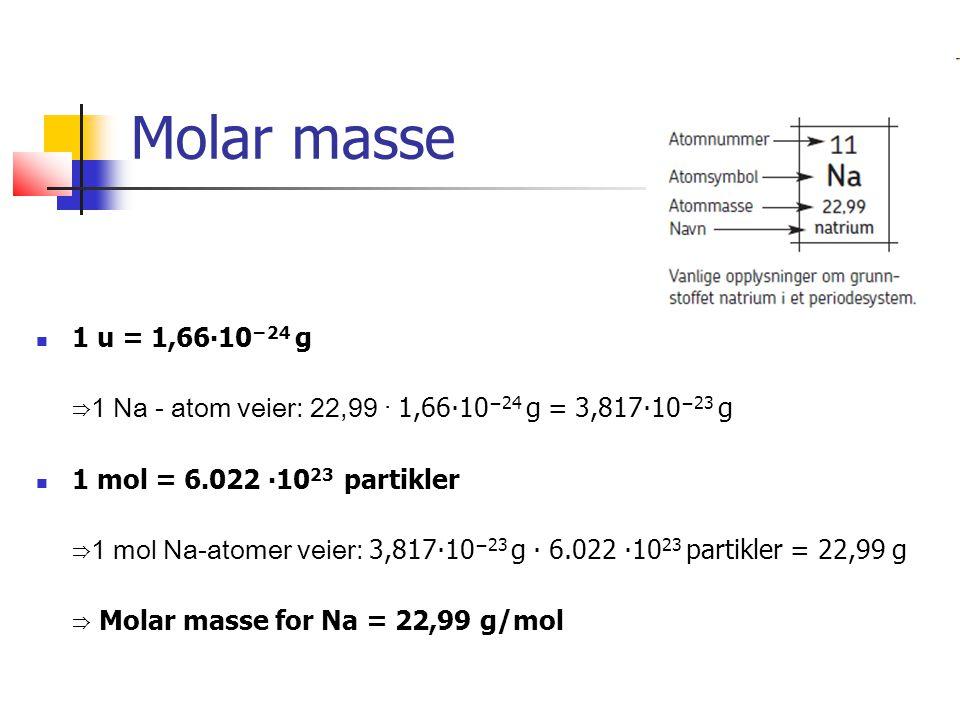 Molar masse 1 u = 1,66∙10 −24 g ⇒1 Na - atom veier: 22,99 · 1,66∙10 −24 g = 3,817∙10 −23 g 1 mol = 6.022 ∙10 23 partikler ⇒1 mol Na-atomer veier: 3,817∙10 −23 g ∙ 6.022 ∙10 23 partikler = 22,99 g ⇒ Molar masse for Na = 22,99 g/mol