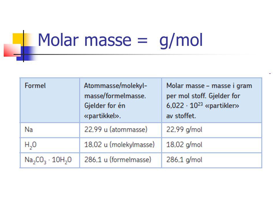 Veien frem går alltid om mol Det molare volumet av en gass er 24,5 L/mol ved 25ºC og 1 atm.