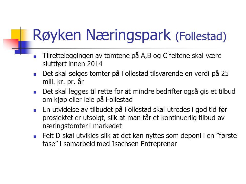Røyken Næringspark (Follestad) Tilretteleggingen av tomtene på A,B og C feltene skal være sluttført innen 2014 Det skal selges tomter på Follestad tilsvarende en verdi på 25 mill.
