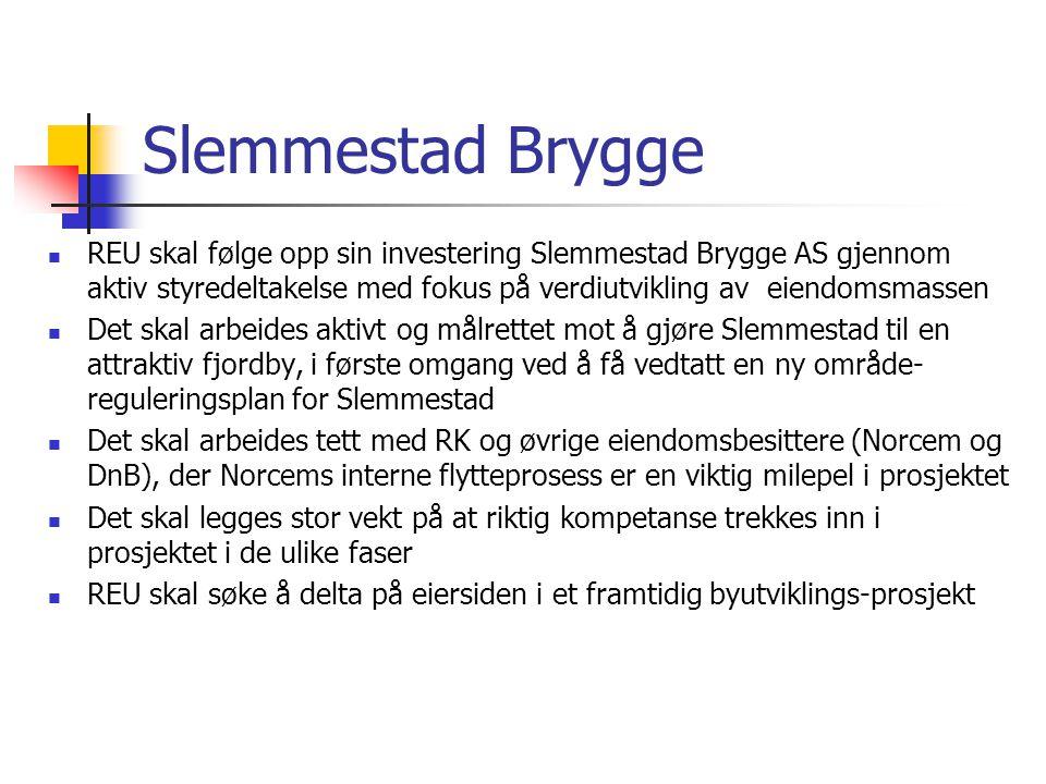 Slemmestad Brygge REU skal følge opp sin investering Slemmestad Brygge AS gjennom aktiv styredeltakelse med fokus på verdiutvikling av eiendomsmassen