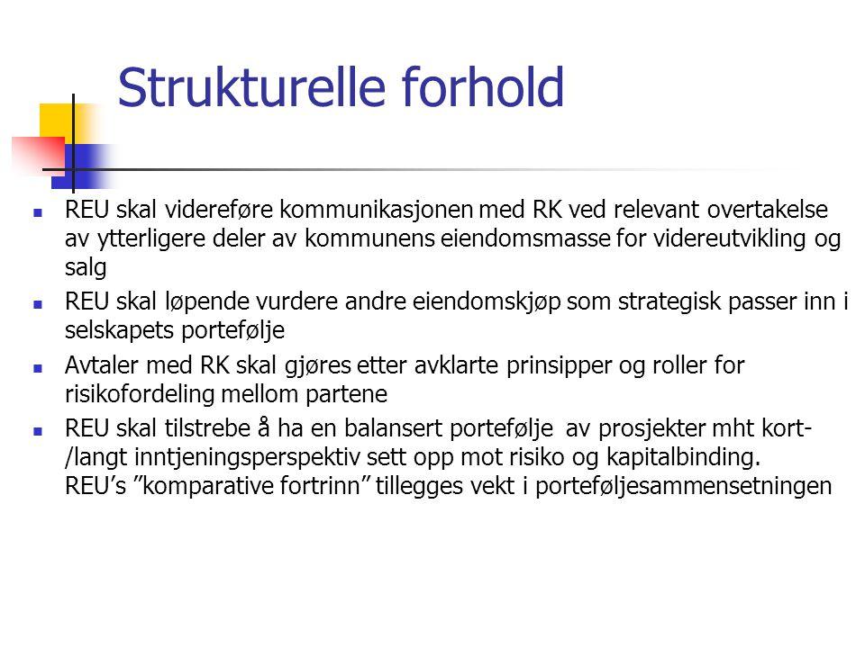 Strukturelle forhold REU skal videreføre kommunikasjonen med RK ved relevant overtakelse av ytterligere deler av kommunens eiendomsmasse for videreutv