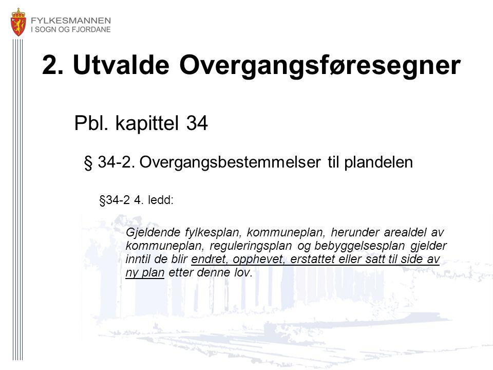 2. Utvalde Overgangsføresegner Pbl. kapittel 34 § 34-2. Overgangsbestemmelser til plandelen §34-2 4. ledd: Gjeldende fylkesplan, kommuneplan, herunder