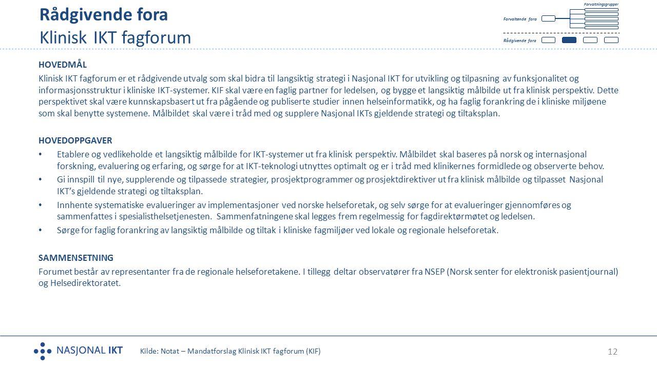 12 Rådgivende fora Klinisk IKT fagforum Tekst HOVEDMÅL Klinisk IKT fagforum er et rådgivende utvalg som skal bidra til langsiktig strategi i Nasjonal