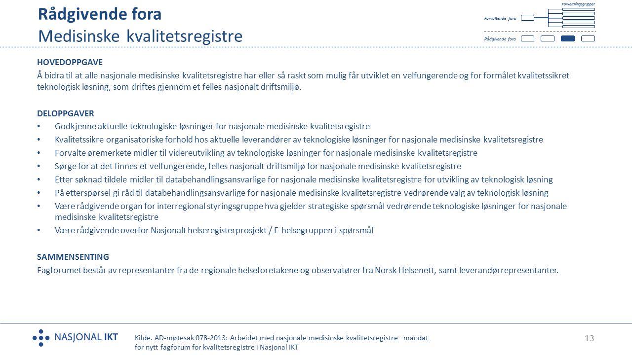13 Rådgivende fora Medisinske kvalitetsregistre Tekst HOVEDOPPGAVE Å bidra til at alle nasjonale medisinske kvalitetsregistre har eller så raskt som m