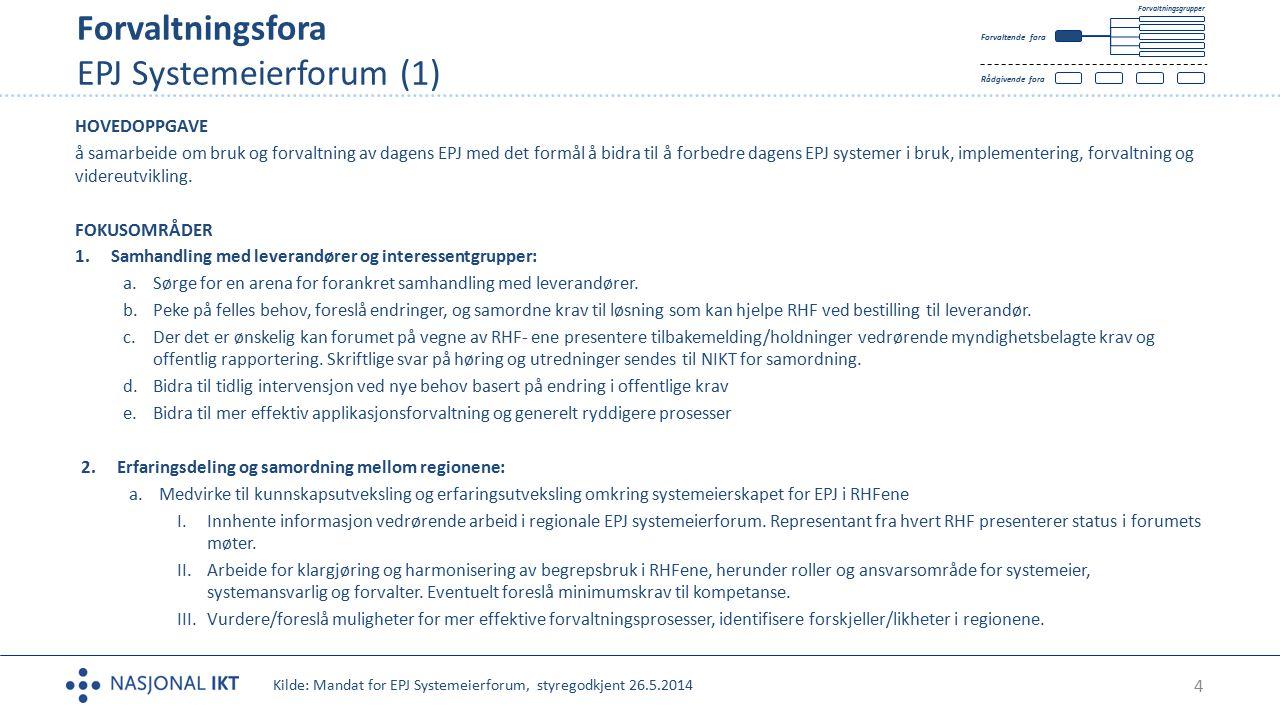 4 Forvaltningsfora EPJ Systemeierforum (1) Tekst HOVEDOPPGAVE å samarbeide om bruk og forvaltning av dagens EPJ med det formål å bidra til å forbedre