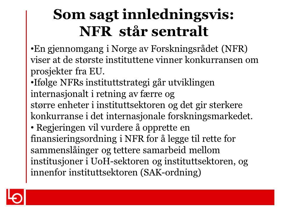 Som sagt innledningsvis: NFR står sentralt En gjennomgang i Norge av Forskningsrådet (NFR) viser at de største instituttene vinner konkurransen om pro