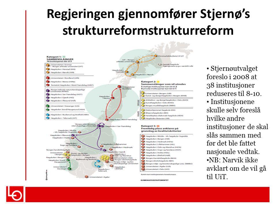 Regjeringen gjennomfører Stjernø's strukturreformstrukturreform Stjernøutvalget foreslo i 2008 at 38 institusjoner reduseres til 8-10. Institusjonene