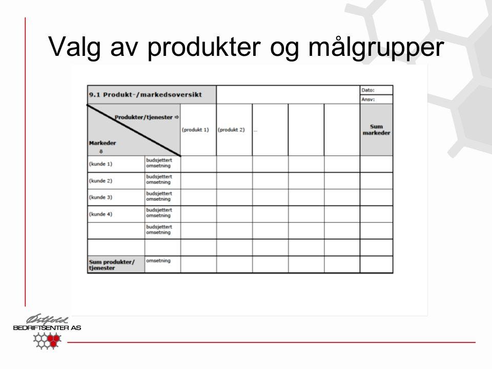 Valg av produkter og målgrupper