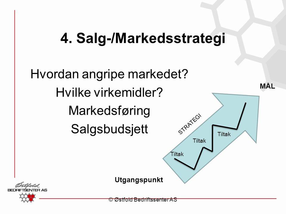 4. Salg-/Markedsstrategi Hvordan angripe markedet? Hvilke virkemidler? Markedsføring Salgsbudsjett Utgangspunkt MÅL STRATEGI Tiltak © Østfold Bedrifts