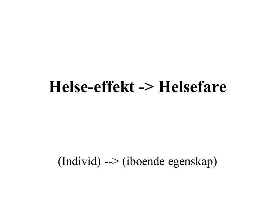 Helse-effekt -> Helsefare (Individ) --> (iboende egenskap)