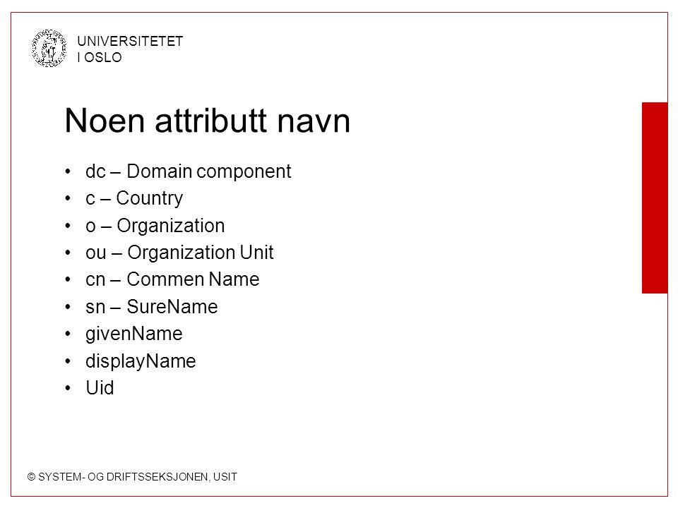 © SYSTEM- OG DRIFTSSEKSJONEN, USIT UNIVERSITETET I OSLO ObjectClass (Schema) TOP Person OrganizationalUnit inetOrgPerson Mfl.