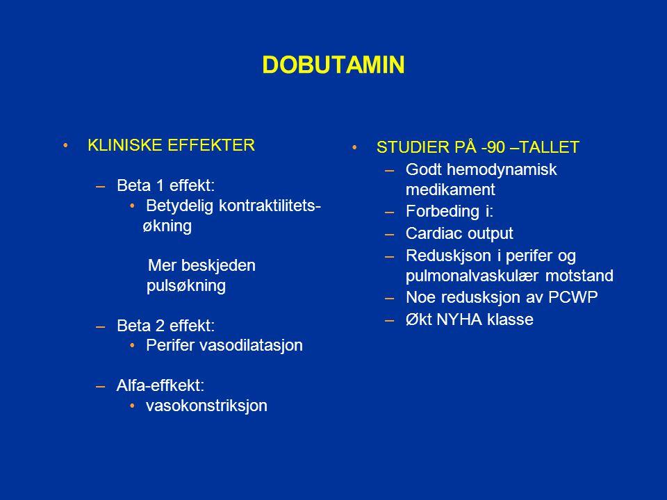 DOBUTAMIN KLINISKE EFFEKTER –Beta 1 effekt: Betydelig kontraktilitets- økning Mer beskjeden pulsøkning –Beta 2 effekt: Perifer vasodilatasjon –Alfa-ef