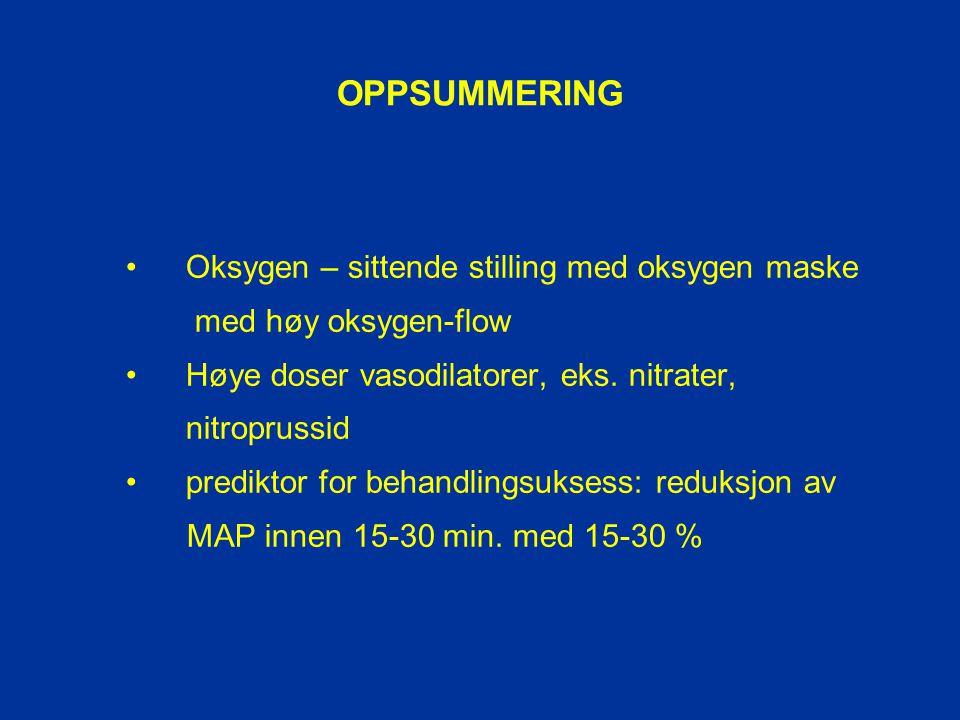 OPPSUMMERING Oksygen – sittende stilling med oksygen maske med høy oksygen-flow Høye doser vasodilatorer, eks. nitrater, nitroprussid prediktor for be