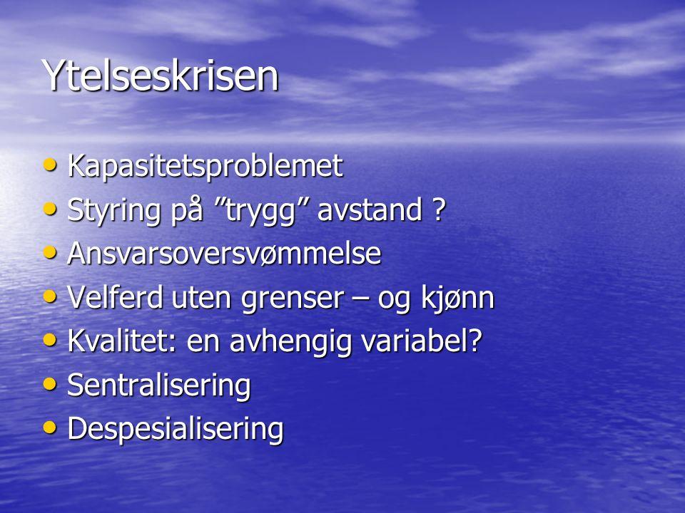 Ytelseskrisen Kapasitetsproblemet Kapasitetsproblemet Styring på trygg avstand .