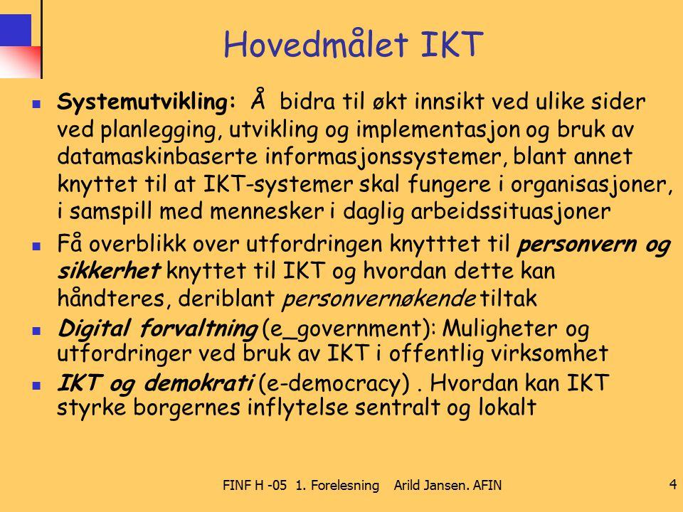 FINF H -05 1. Forelesning Arild Jansen. AFIN 4 Hovedmålet IKT Systemutvikling: Å bidra til økt innsikt ved ulike sider ved planlegging, utvikling og i
