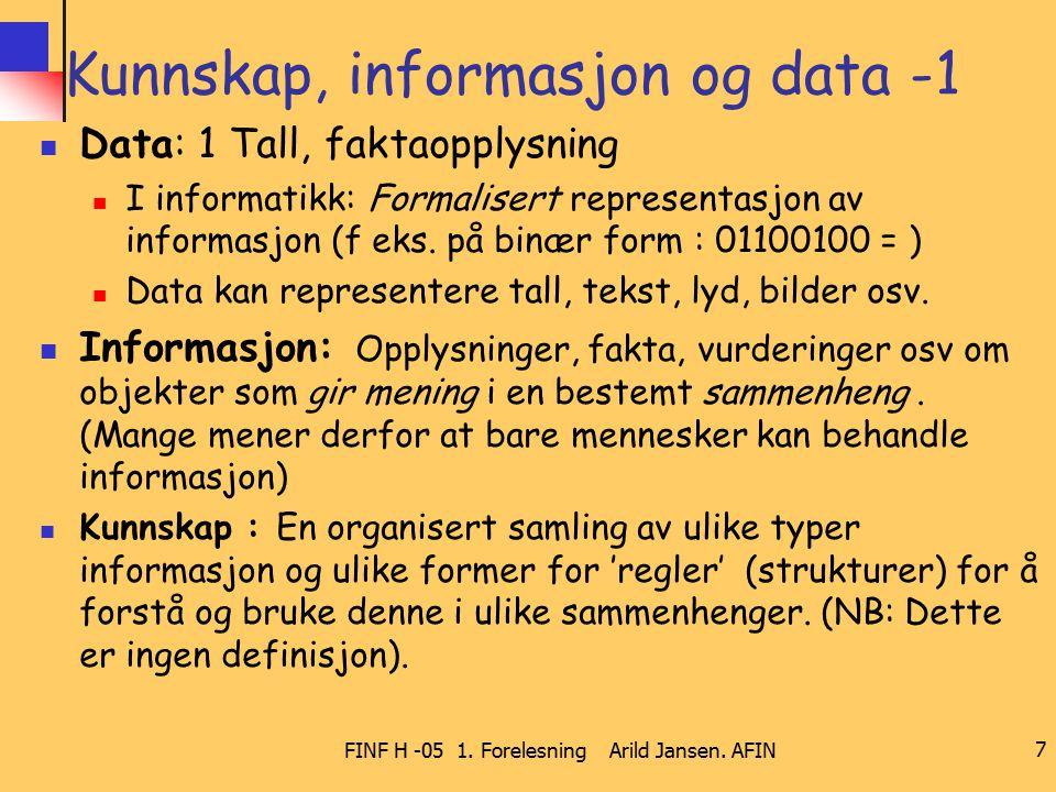 FINF H -05 1. Forelesning Arild Jansen. AFIN 7 Kunnskap, informasjon og data -1 Data: 1 Tall, faktaopplysning I informatikk: Formalisert representasjo