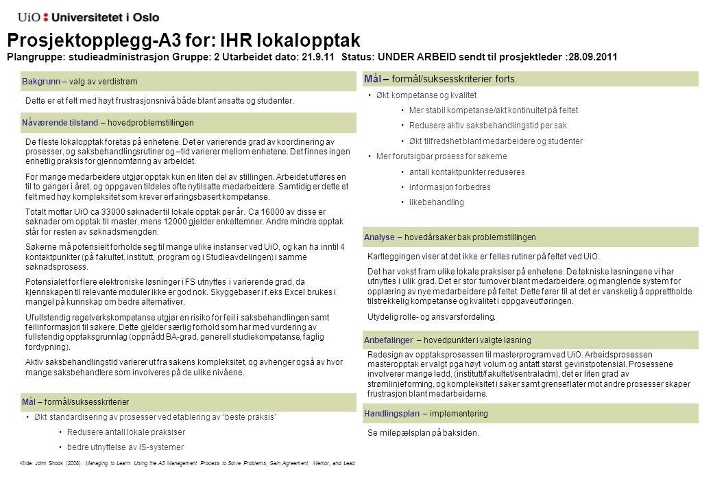Prosjektopplegg-A3 for: IHR lokalopptak Plangruppe: studieadministrasjon Gruppe: 2 Utarbeidet dato: 21.9.11 Status: UNDER ARBEID sendt til prosjektled