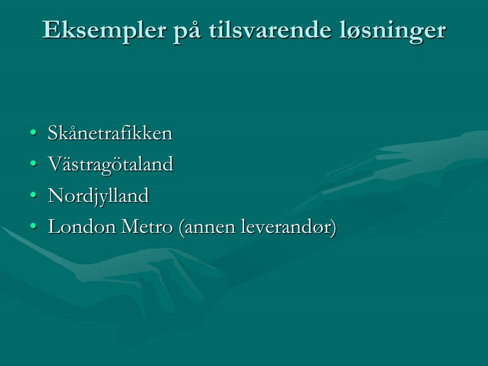 Eksempler på tilsvarende løsninger SkånetrafikkenSkånetrafikken VästragötalandVästragötaland NordjyllandNordjylland London Metro (annen leverandør)London Metro (annen leverandør)