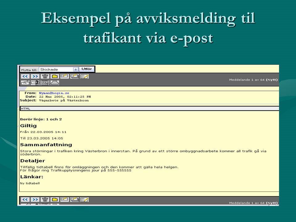Eksempel på avviksmelding til trafikant via e-post