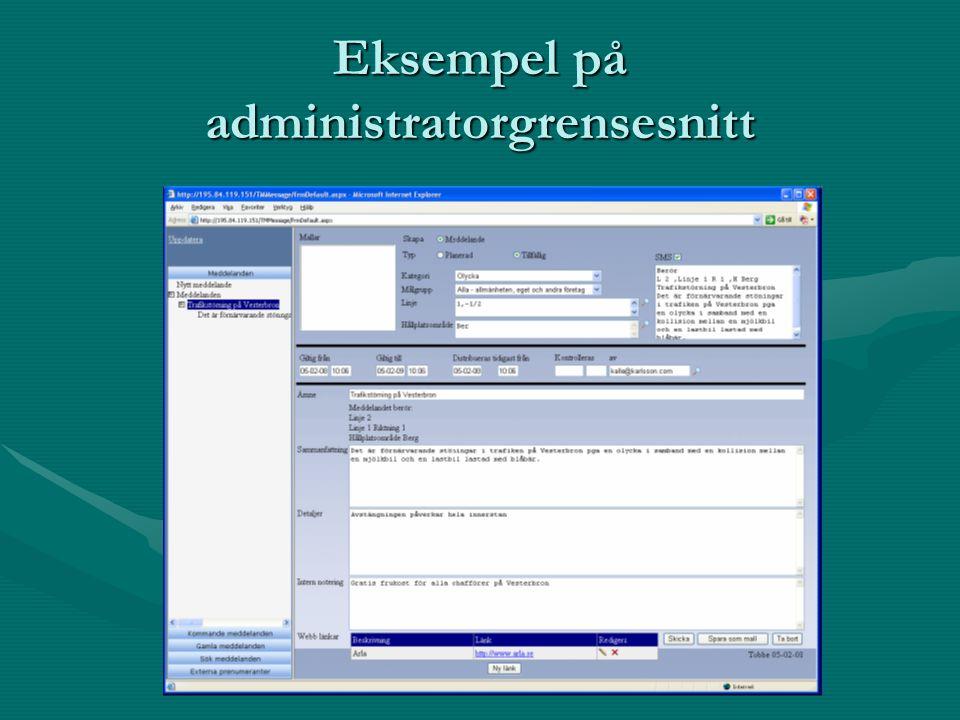 Eksempel på administratorgrensesnitt