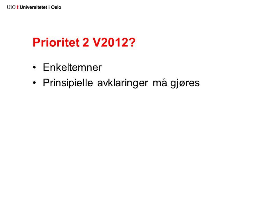 Prioritet 2 V2012 Enkeltemner Prinsipielle avklaringer må gjøres