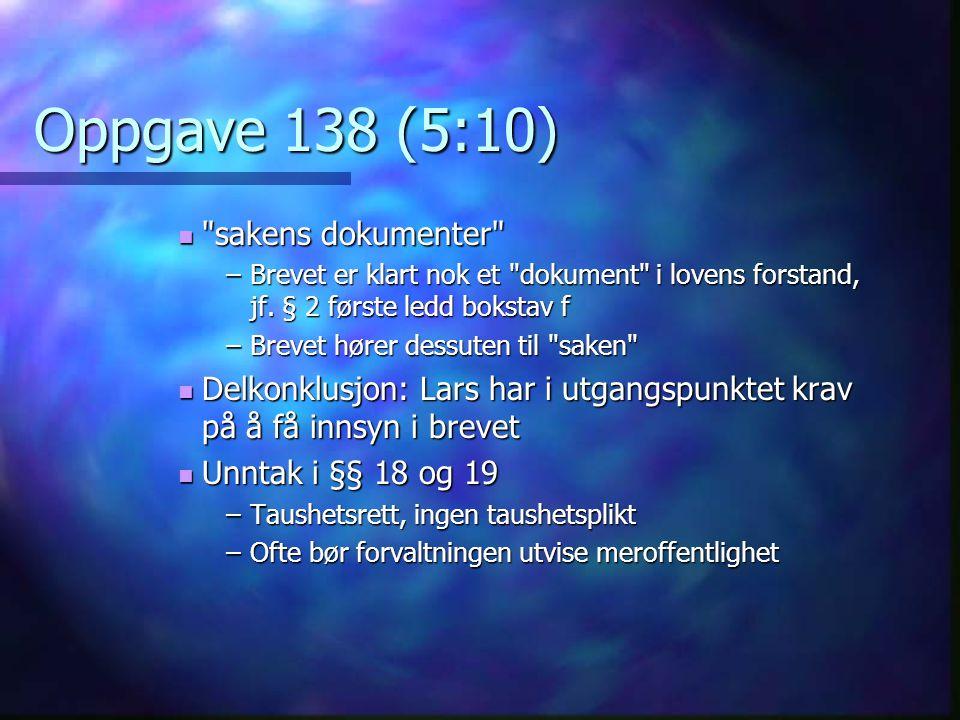 Oppgave 138 (5:10) sakens dokumenter sakens dokumenter –Brevet er klart nok et dokument i lovens forstand, jf.