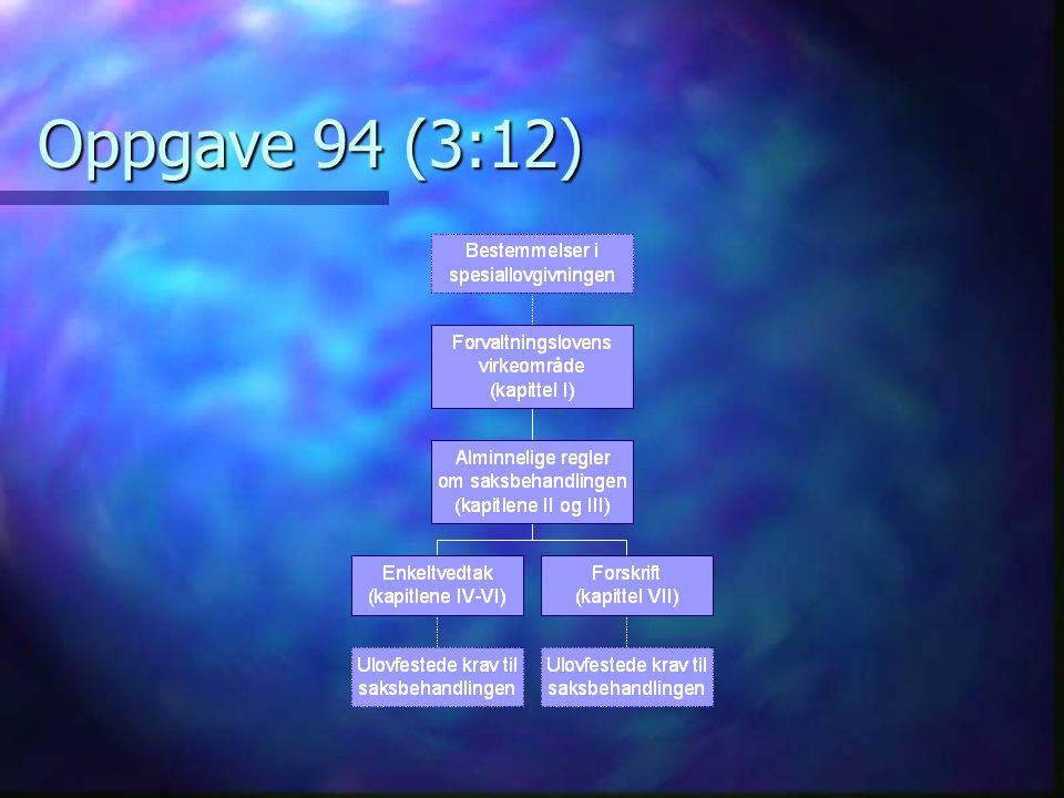 Oppgave 94 (4:12) Hvilke vedtak er enkeltvedtak og hvilke er forskrifter .