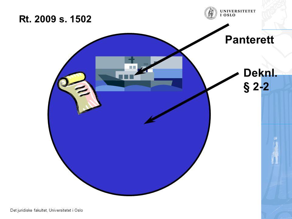 Det juridiske fakultet, Universitetet i Oslo Deknl. § 2-2 Panterett Rt. 2009 s. 1502