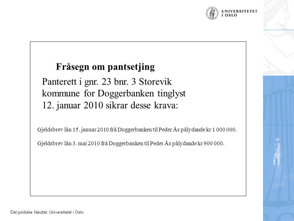 Det juridiske fakultet, Universitetet i Oslo Fråsegn om pantsetjing Panterett i gnr. 23 bnr. 3 Storevik kommune for Doggerbanken tinglyst 12. januar 2