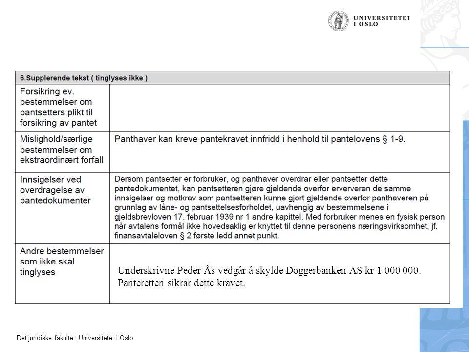 Underskrivne Peder Ås vedgår å skylde Doggerbanken AS kr 1 000 000. Panteretten sikrar dette kravet.
