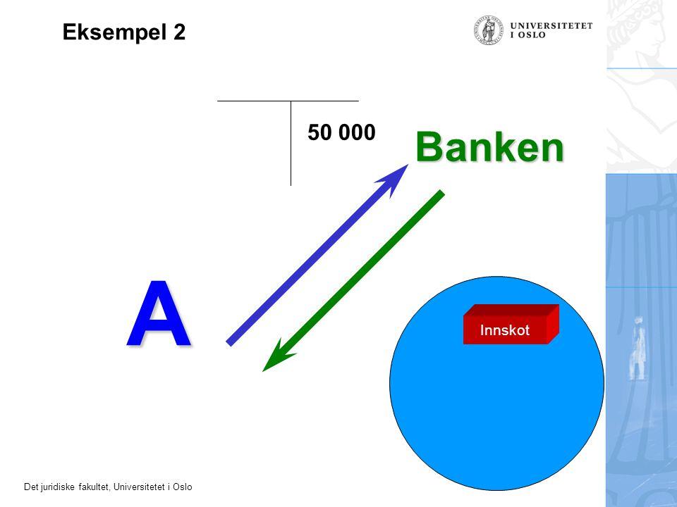 Det juridiske fakultet, Universitetet i Oslo A Banken 50 000 Eksempel 2 Innskot