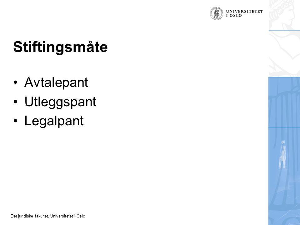 Det juridiske fakultet, Universitetet i Oslo Stiftingsmåte Avtalepant Utleggspant Legalpant