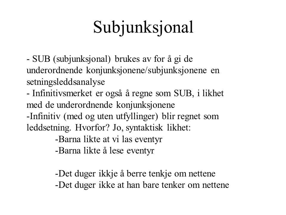 Subjunksjonal - SUB (subjunksjonal) brukes av for å gi de underordnende konjunksjonene/subjunksjonene en setningsleddsanalyse - Infinitivsmerket er og
