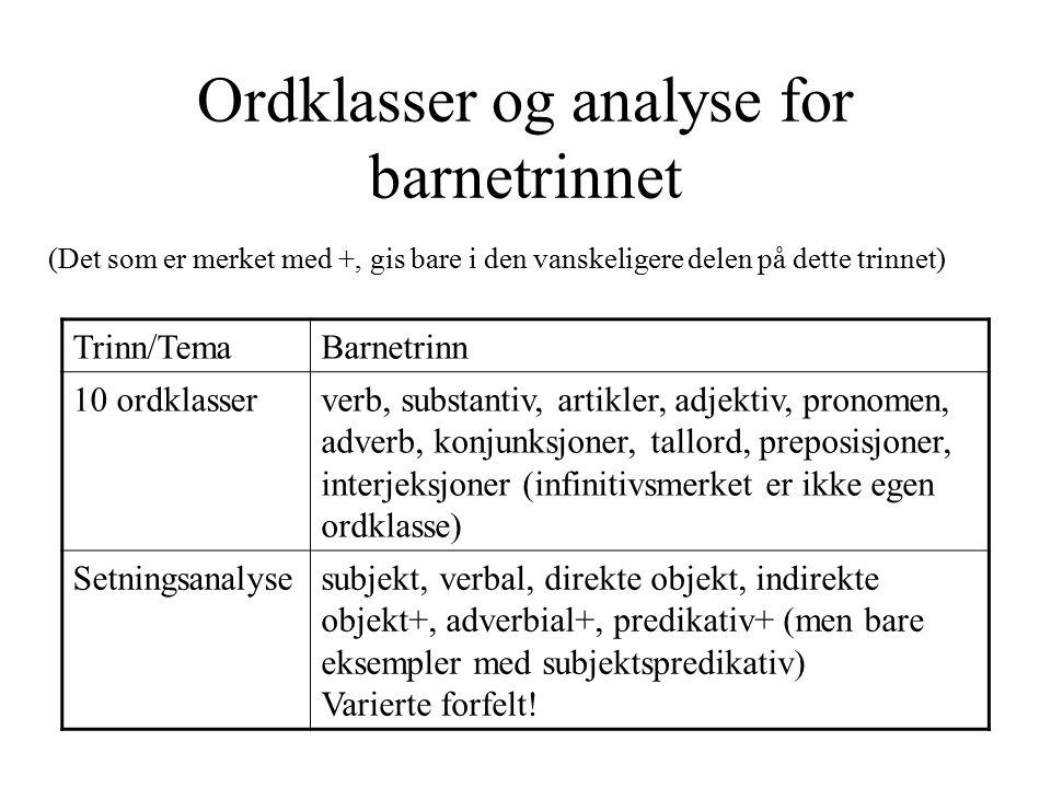 Ordklasser og analyse for barnetrinnet (Det som er merket med +, gis bare i den vanskeligere delen på dette trinnet) Trinn/TemaBarnetrinn 10 ordklasse